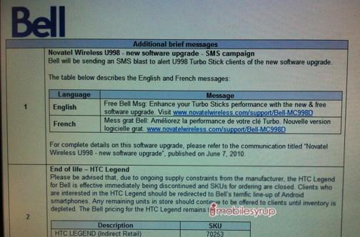 Bell HTC Legend prematurely put out to pasture due to AMOLED supply constraints?