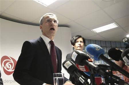 Former Norwegian prime minister Jens Stoltenberg addresses the media in Oslo, after NATO ambassadors chose him to be the next head, March 28, 2014. REUTERS/Hakon Mosvold Larsen/NTB Scanpix