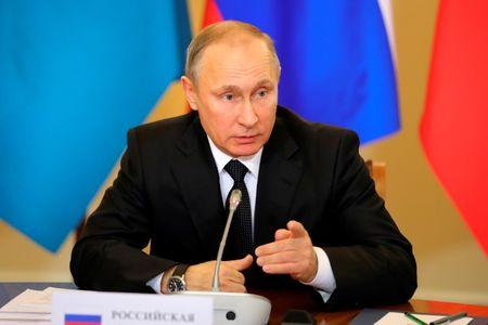 Russian President Vladimir Putin attends a session of the Collective Security Treaty Organisation in St. Petersburg