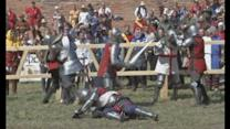 Knights don armour for Medieval Fighting World Championships