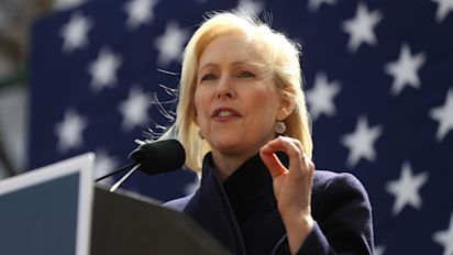 Gillibrand holds rally outside NYC Trump hotel