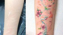 Escondió las cicatrices de la época más oscura de su vida bajo un colorido tatuaje
