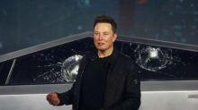 Elon Musk runs over traffic cone as he shows off Tesla Cybertruck after dinner in Malibu