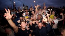 Leeds fans celebrate club's promotion