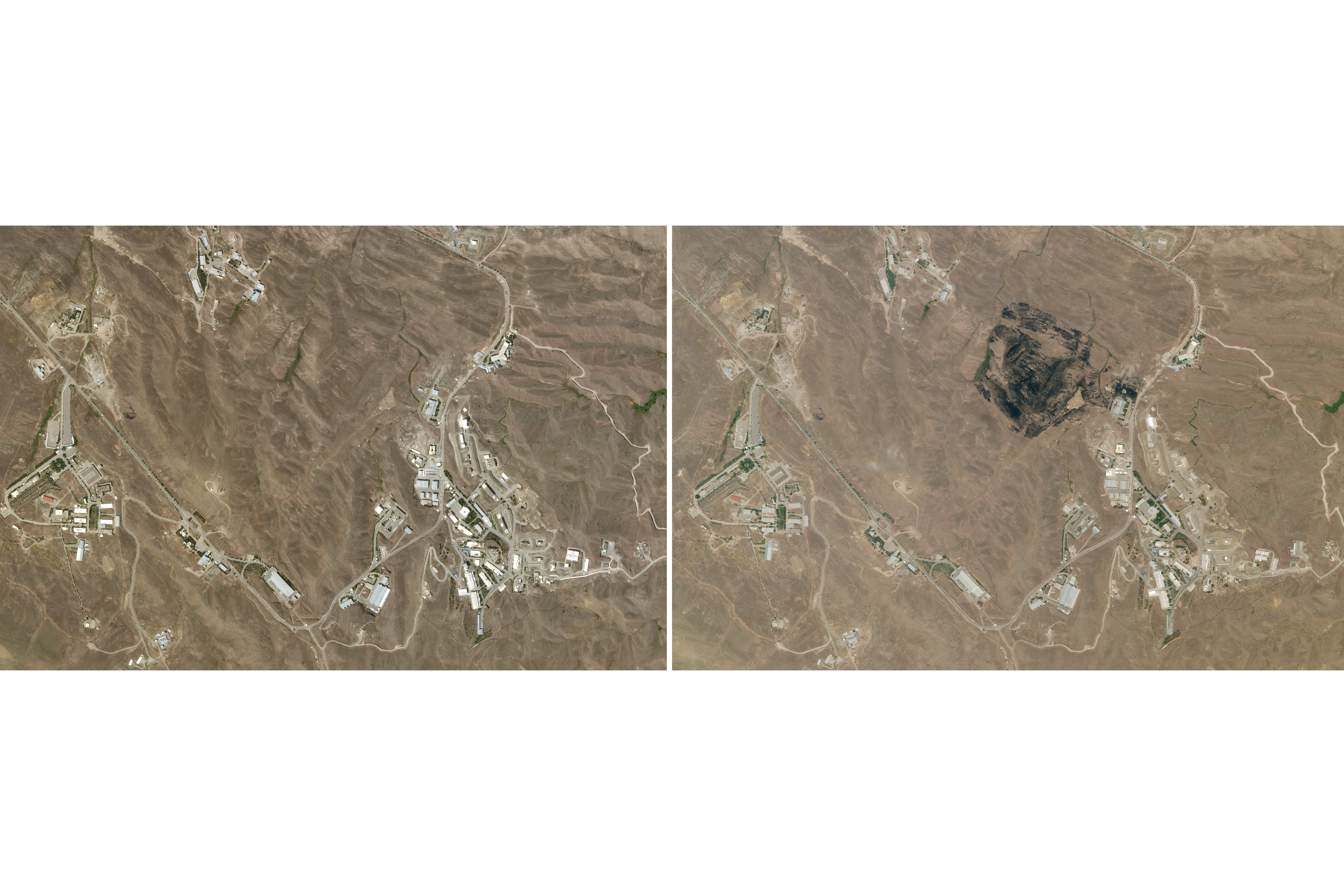 This combination of the Saturday, June 27, 2020, right, and Wednesday, June 10, 2020, left, satellite images from Planet Labs shows the site of an explosion that rattled Iran's capital. Analysts say the blast Friday, June 26, 2020, came from an area in Tehran's eastern mountains they hides a underground tunnel system and missile production sites. The explosion appears to have charred hundreds of meters of scrubland. (Planet Labs via AP)