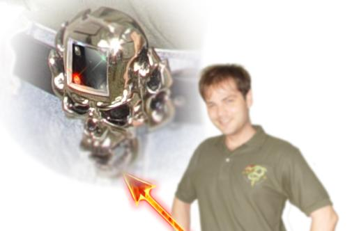 "Skull belt buckle / LED ""display"" / MP3 player wants to fight your battles for you"
