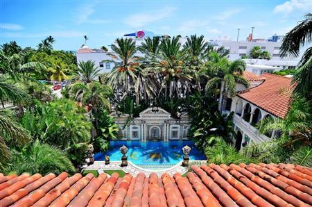 The view of the South Beach skyline and pool area of the South Beach mansion formerly owned by fashion designer Gianni Versace in Miami Beach
