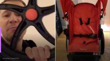"""Tiago Leifert monta carrinho da filha: """"SUV dos bebês"""""""