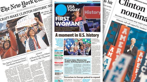 How newspapers covered the historic second day of the DNC