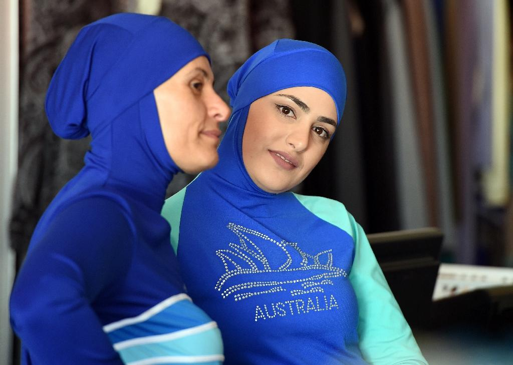 Muslim models display burkini swimsuits in Sydney where burkinis are generally accepted as a means of covering up on the beach (AFP Photo/Saeed Khan)