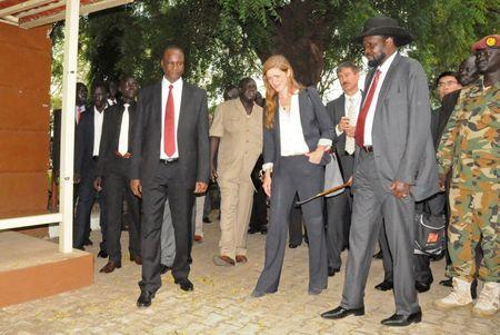 South Sudan President Salva Kiir explains to U.S. Ambassador Samantha Power the effects of recent fighting during a visit by the United Nations Security Council, delegation at the Presidential Palace in the capital of Juba