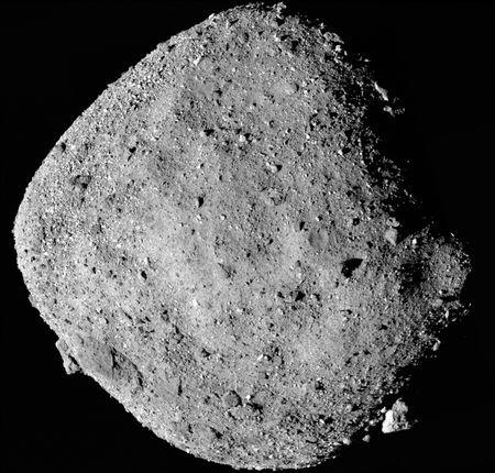 This mosaic image of asteroid Bennu, composed of 12 PolyCam images collected on December 2, 2018 by the OSIRIS-REx spacecraft from a range of 15 miles (24 km). NASA/Goddard/University of Arizona/Handout via REUTERS