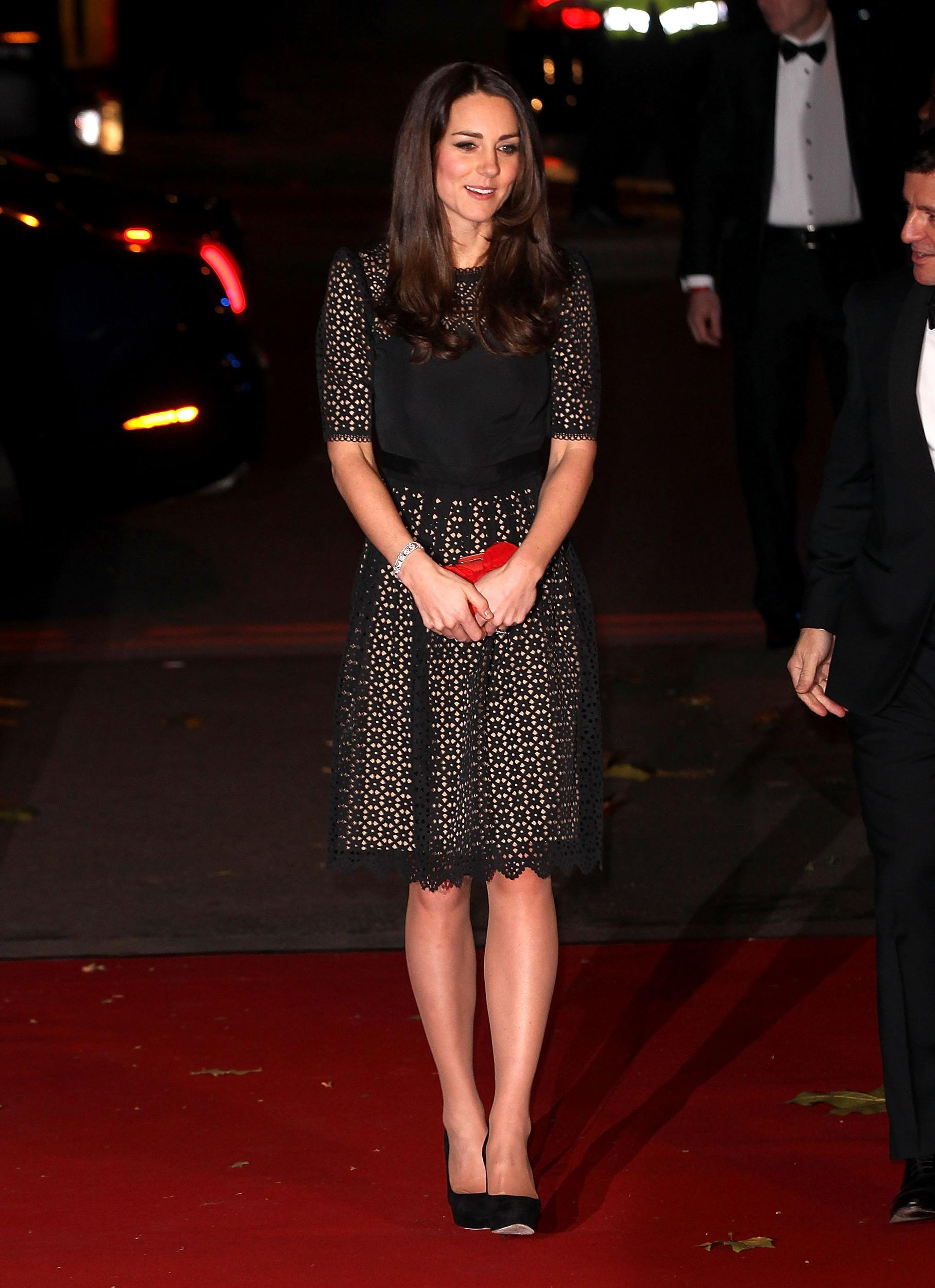 Kate attended the SportsBall, donning a laser-cut, black lace Temperley London cocktail dress, paired with her Jimmy Choo heels and Alexander McQueen clutch.