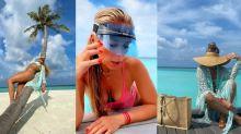 Com direito a topless, Adriane Galisteu chega às Maldivas, o point do momento