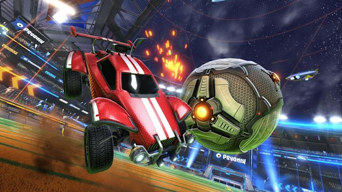 A screenshot from Rocket League.