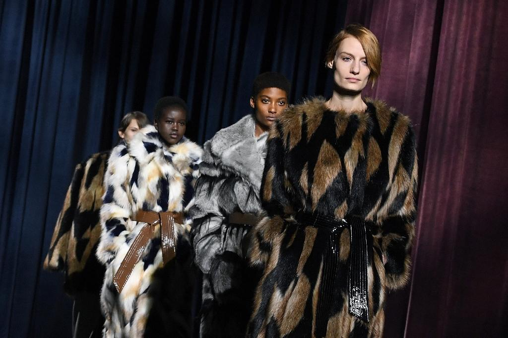 Models in fake fur take to the catwalk for a Givenchy fashion show in Paris this month (AFP Photo/ALAIN JOCARD)
