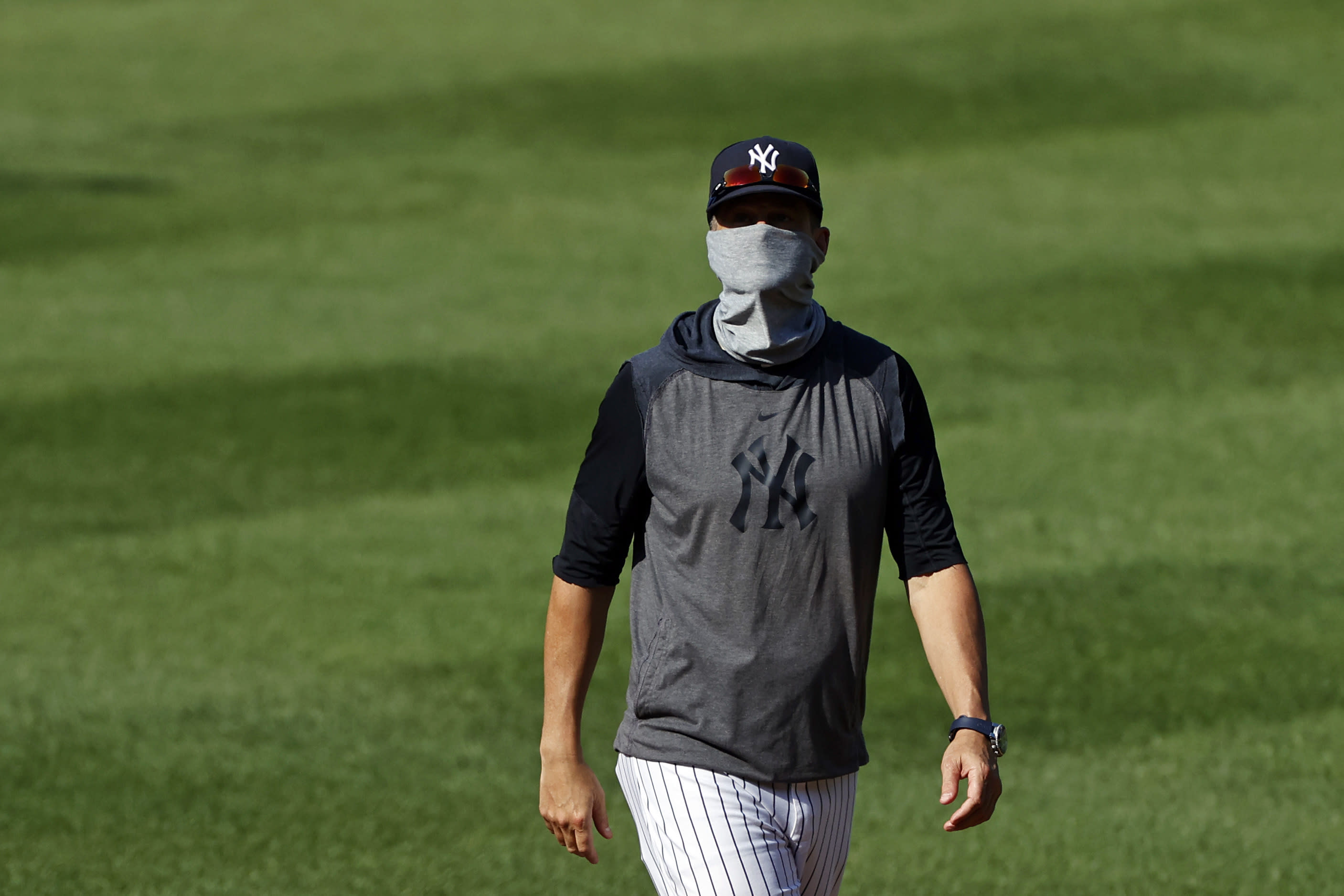 New York Yankees manager Aaron Boone during a baseball workout at Yankee Stadium in New York, Saturday, July 4, 2020. (AP Photo/Adam Hunger)