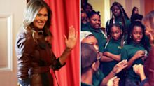 Little girl who looks bored to meet Melania Trump is a hit on social media