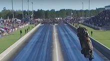 Watch a Ford Mustang Dragster Fly 300 Feet and Crash