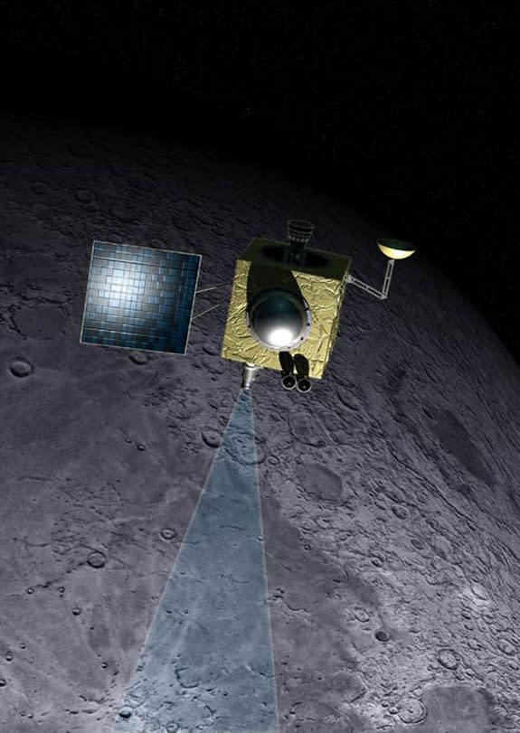 An artist's illustration of India's Chandrayaan-1 lunar spacecraft orbiting the moon.