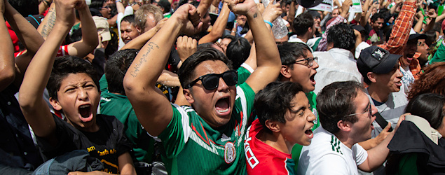Mexican soccer fans celebrate win over Germany. (AP)