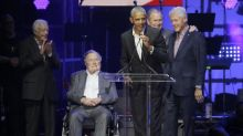 All five living former presidents appear together for hurricane relief concert