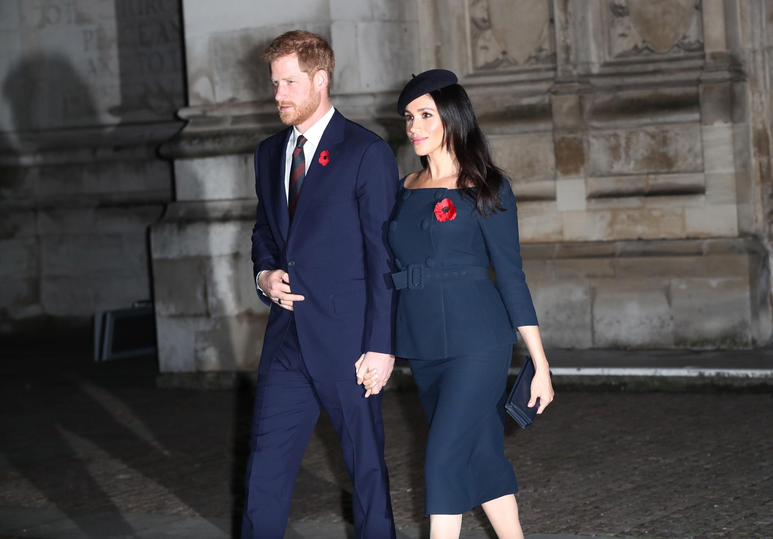 The Duke and Duchess of Sussex leave Westminster Abbey, London, after attending a National Service to mark the centenary of the Armistice.