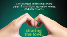 Valet Living Reaches Milestone One Million Apartment Homes in Service and Celebrates by Sharing the Love
