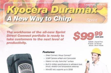 Kyocera Duramax is in the batter's box, launching with Sprint Direct Connect October 2nd