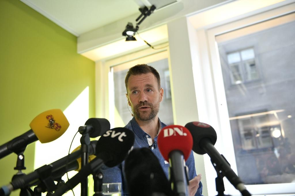 Freed Swedish hostage Johan Gustafsson gives a press conference in Stockholm on August 10, 2017