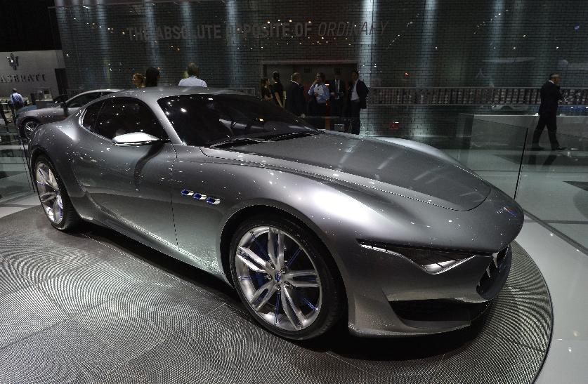 The new Maserati Concept car Alfieri is presented at the 2014 Paris Auto Show on October 2, 2014 in Paris, on the first of the two press days (AFP Photo/Miguel Medina)
