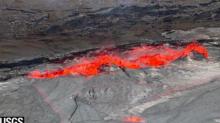 Lava Lake at Hawaii's Kilauea Volcano Overflows