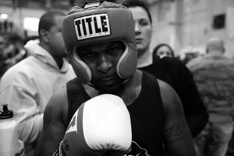 "<p>EMS officer Kwane Mendez gets set to enter the ring during the ""Bronx Tough Turkey Tussle"" at the New York Expo Center in the Bronx, New York, on Nov. 16, 2017. (Photo: Gordon Donovan/Yahoo News) </p>"