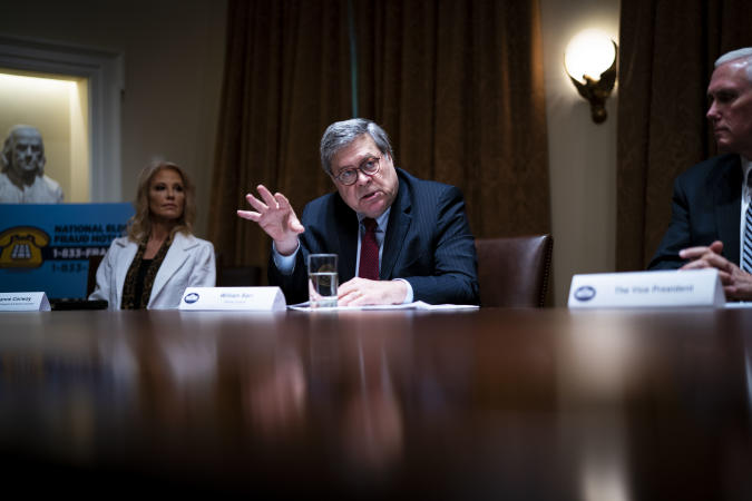 """WASHINGTON, DC - JUNE 15:  U.S. Attorney General William Barr speaks during a roundtable on """"Fighting for America's Seniors"""" at the Cabinet Room of the White House June 15, 2020 in Washington, DC. President Trump participated in the roundtable to discuss the administration's efforts to """"safeguard America's senior citizens"""" from COVID-19.  (Photo by Doug Mills-Pool/Getty Images)"""
