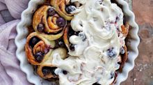Made these blueberry #cinnamonrolls on my insta story with the same recipe I used last week to make bagels! Here's the scoop for the dough:  . . 1 cup unbleached all purpose flour 2 teaspoons baking powder ¾ teaspoon kosher salt  1 cup non-fat Greek yogurt  Whisk dry ingredients. Mix in yogurt. Knead a few times and roll out to 11 x 17 inch rectangle. Spread with 3 tablespoons softened butter. Sprinkle with a mixture of 1 teaspoon cinnamon, 2 tablespoons each brown & white sugar. Roll up and slice into 8 or 9 equal pieces. Place in prepared greased baking dish. Press in fresh blueberries here and there. Bake at 350F for 25 to 30 minutes. Top with your favourite frosting. I used my go to Cream Cheese one. #nomnomnom . . . . . . . . #foodphotography #feedfeed #f52grams @thefeedfeed #simplybeautifuleating #beautifulcuisines #fbcigers #hautecuisines #foodandwine #myopenkitchen #foodstyling #bhgfood #pursuepretty #vscofood #foods4thought #thatsdarling #heresmyfood @food #rslove #huffposttaste #buzzfeast #eatingfortheinsta #baking #thebakefeed #creamcheesefrosting #whatibakedtoday #myhomesense (at Toronto, Ontario)