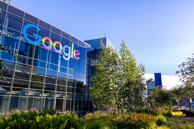 """June 8, 2019 Mountain View / CA / USA - Google office building in the Company's campus in Silicon Valley; The """"double o's"""" of the logo are decorated in rainbow colors in honor of LGBTQ Rights"""