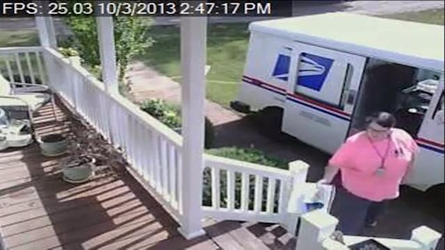 Lazy Postal Worker Driver On Lawn To Deliver Package