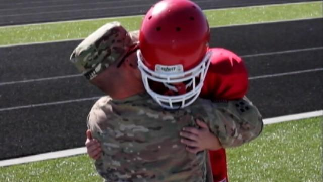 Army Staff Sgt. Brandon Pickett Surprises Son at Football Game