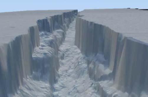 NASA simulates fly through of ginormous crack in Antarctic glacier, takes you for virtual ride