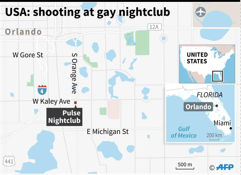 Map of Orlando, Florida, locating the gay nightclub targeted in the mass shooting (AFP Photo/Kun Tian)