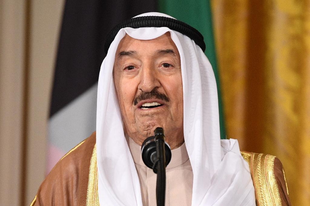 Kuwaiti Emir Sheikh Sabah al-Ahmad Al-Sabah speaks during a joint press conference with US President Donald Trump at the White House in Washington, DC, on September 7 2017