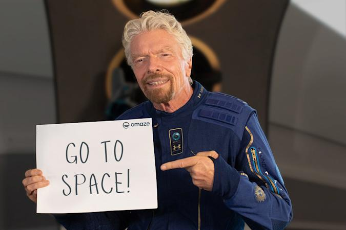 Richard Branson advertising the Virgin Galactic space trip sweepstakes from Omaze