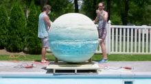 This is what happens to a giant bath bomb in a swimming pool