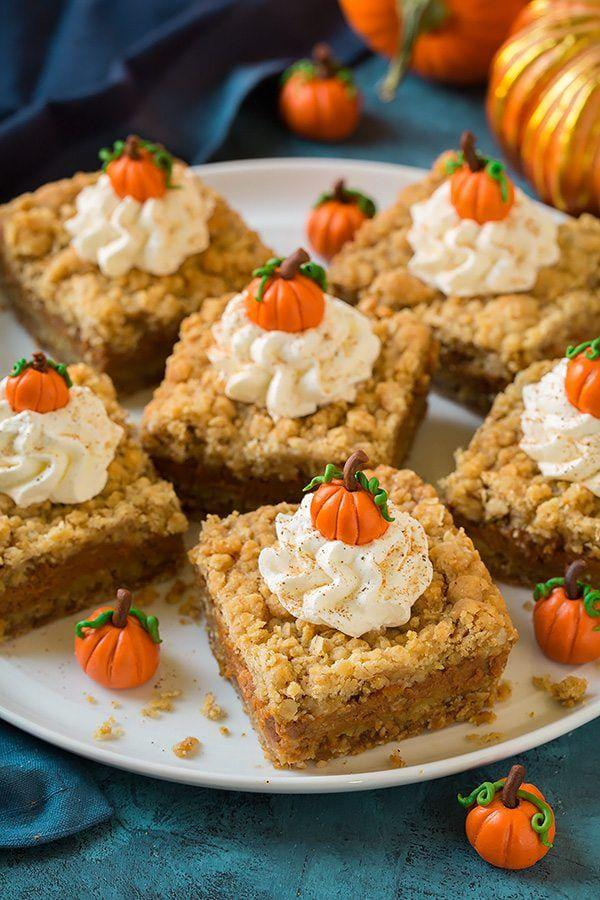 """<p>All the perks of pie, plus you can eat it with your hand.</p><p>Get the recipe from <a href=""""https://www.cookingclassy.com/pumpkin-pie-crumb-bars/"""" rel=""""nofollow noopener"""" target=""""_blank"""" data-ylk=""""slk:Cooking Classy"""" class=""""link rapid-noclick-resp"""">Cooking Classy</a>.</p>"""