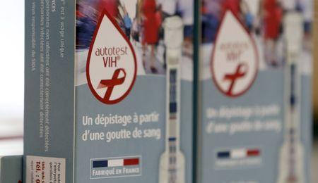 HIV self tests are displayed in a pharmacy in Bordeaux