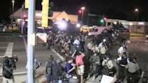Police Line Advances on Ferguson Protesters