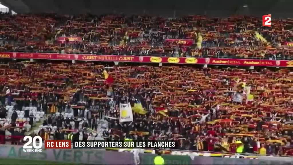 rc lens des supporters sur les planches vid o. Black Bedroom Furniture Sets. Home Design Ideas