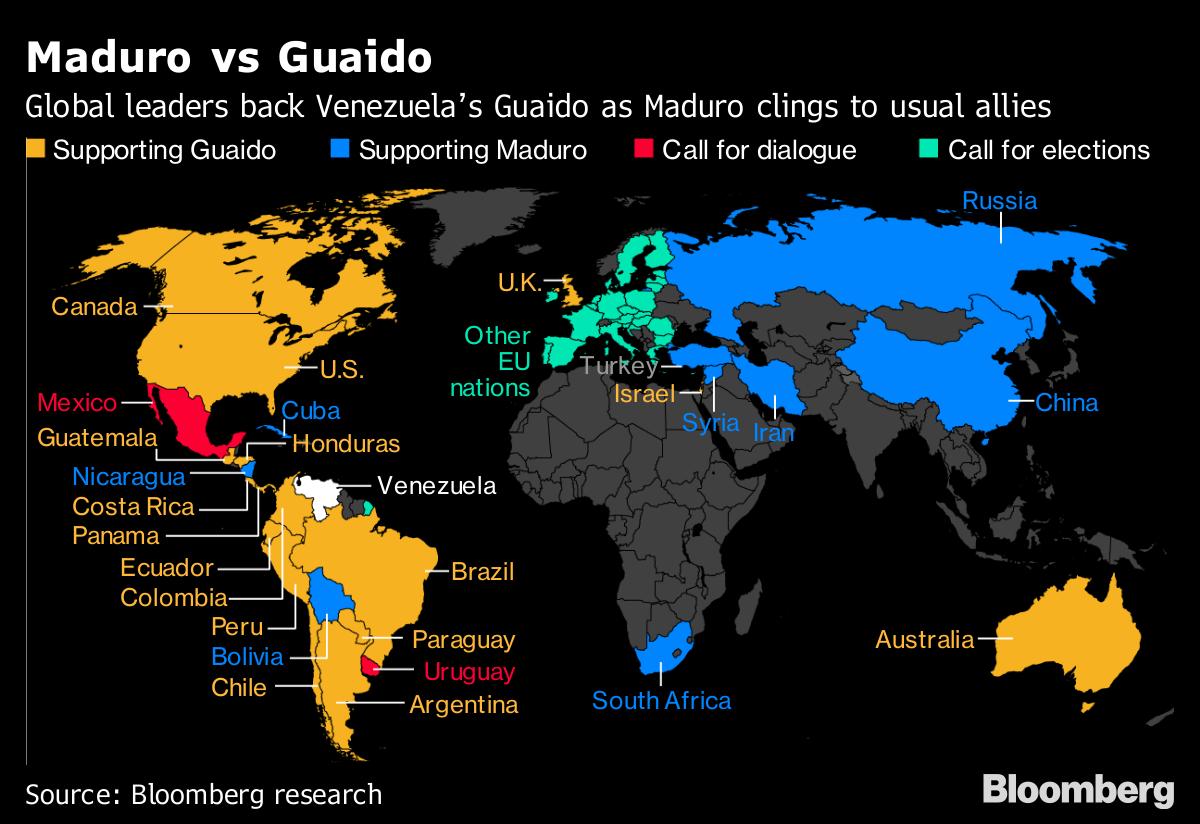 Venezuela Crisis Splits the World\'s Allegiances: Map