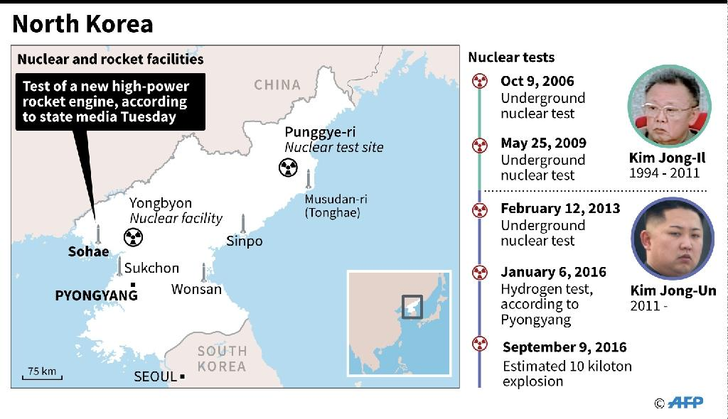 Graphic showing the main missile and rocket test sites in North Korea, plus a timeline of nuclear tests (AFP Photo/AFP)