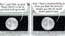 Stephen Collins on the moon – cartoon